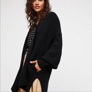 Free People Black Oversized Knit Cardigan